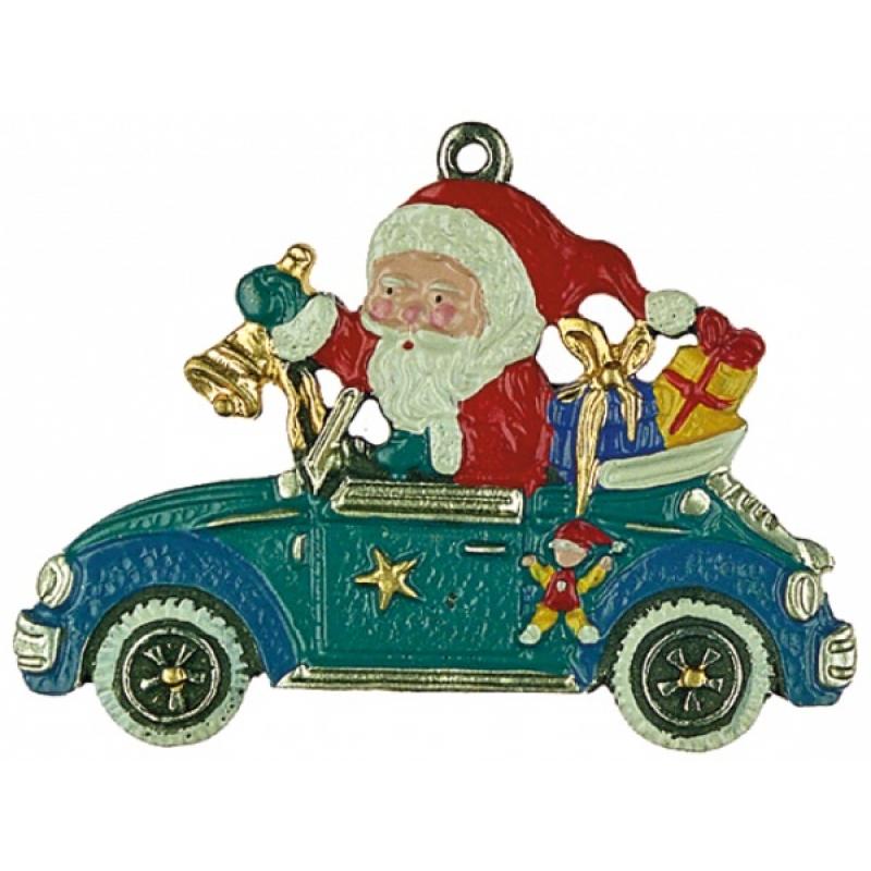 Zinnfigur Weihnachtsmann Im Auto
